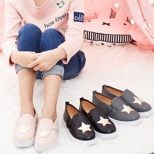 ContiKids Shoes - Girls Boys Classic Slip On Canvas Star Sneakers